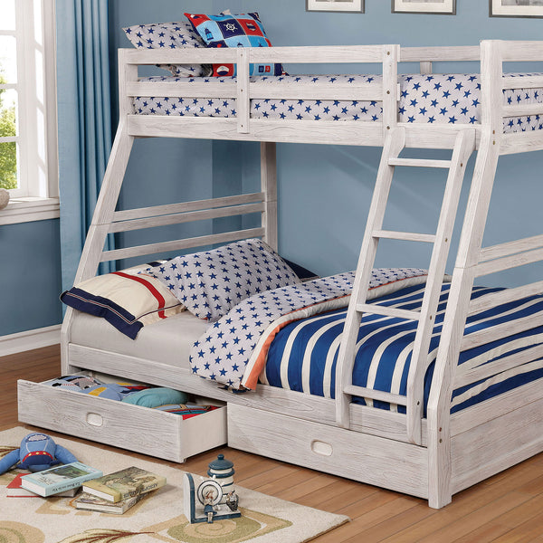 California III Wire-Brushed White Twin/Full Bunk Bed w/ 2 Drawers image