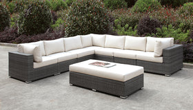 Somani Light Gray Wicker/Ivory Cushion Large L-Sectional + Bench