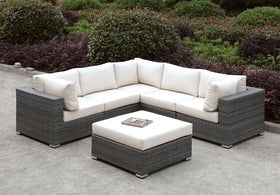 Somani Light Gray Wicker/Ivory Cushion L-Sectional + Ottoman