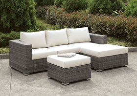 Somani Light Gray Wicker/Ivory Cushion Small L-Sectional w/ Right Chaise + Ottoman