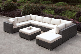 Somani Light Gray Wicker/Ivory Cushion U-Sectional + Ottoman