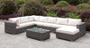 Somani Light Gray Wicker/Ivory Cushion U-Sectional + Coffee Table image