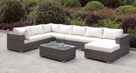 Somani Light Gray Wicker/Ivory Cushion U-Sectional + Coffee Table