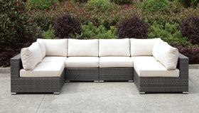 Somani Light Gray Wicker/Ivory Cushion U-Sectional