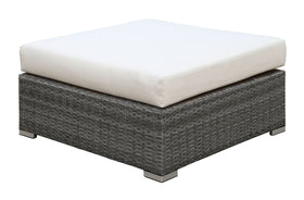 SOMANI Light Gray Wicker/Ivory Cushion Large Ottoman