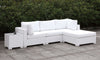 Somani Light Gray Wicker/Ivory Cushion L-Sectional + End Table + Ottoman image