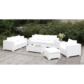Somani Light Gray Wicker/Ivory Cushion L-Sectional + Large Ottoman + End Table + Chair + Ottoman