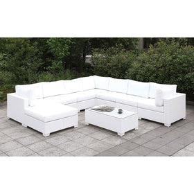 Somani White Wicker/White Cushion U-Sectional + Large Ottoman + End Table