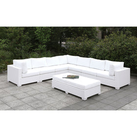 Somani Light Gray Wicker/Ivory Cushion U-Sectional + Coffee Table + End Table