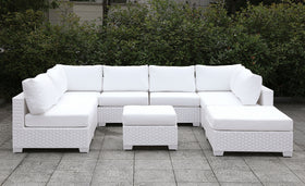 Somani Light Gray Wicker/Ivory Cushion Sectional + Coffee Table