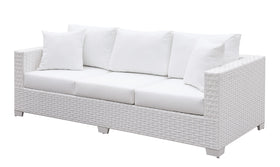Somani White Wicker/White Cushion Bench