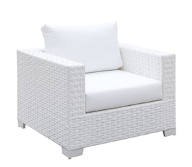 Somani White Wicker/White Cushion Arm Chair