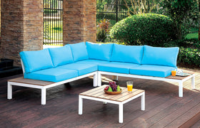 WINONA White/Oak/Blue Patio Sectional w/ Table