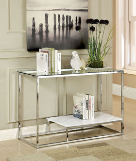 VENDI White/Chrome Sofa Table