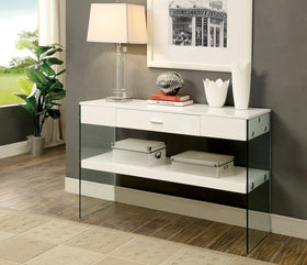 Raya White Sofa Table, White