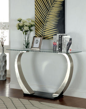 ROXO Satin Plated/Black Sofa Table