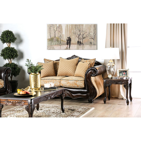 Aislynn Gold/Espresso Love Seat image