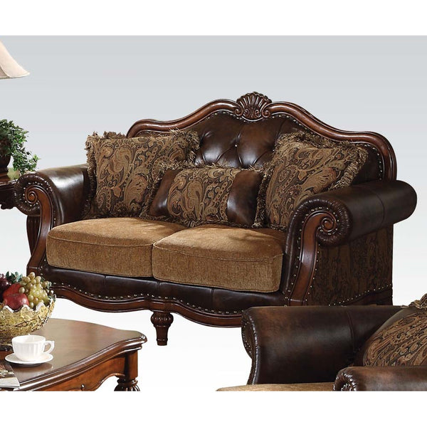 Acme Dreena Traditional Bonded Leather and Chenille Loveseat 05496 image