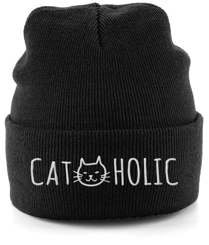 Unisex Embroidered Cuffed Beanie Cat-holic