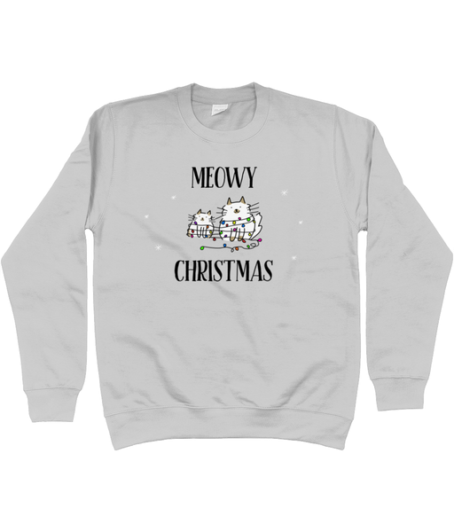 Unisex Christmas Jumper Meowy Christmas Cats with Lights