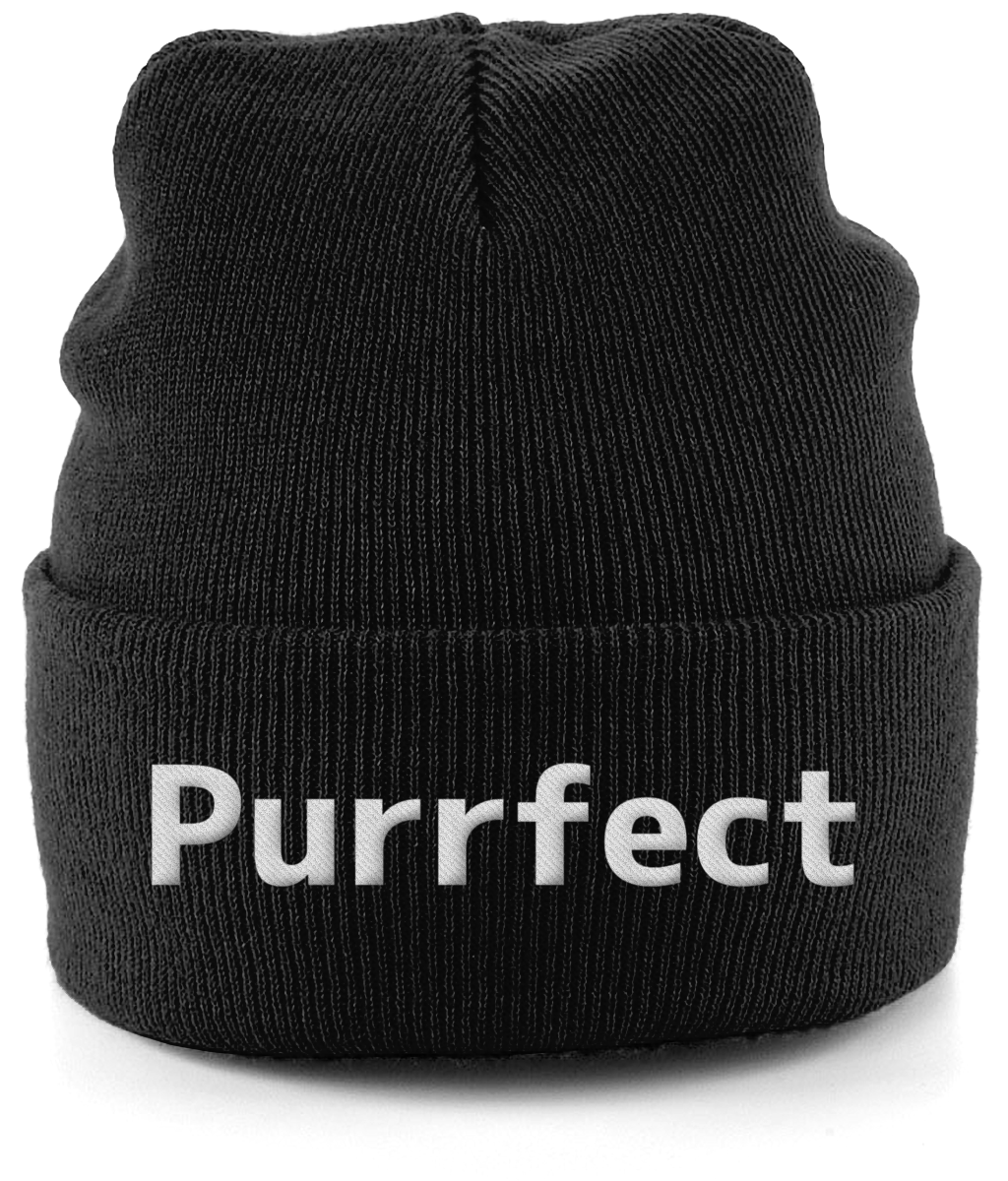 Unisex Embroidered Cuffed Beanie Purrfect Cat