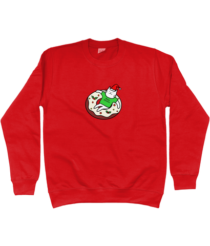 Unisex Christmas Jumper Cute Christmas Donut Cat