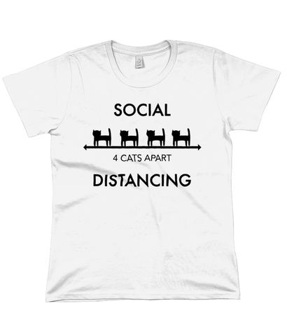 Organic Cotton Women's T-Shirt Cat Social Distancing
