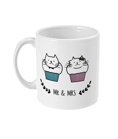 11oz Ceramic Mug Mr and Mrs Cat Muffins