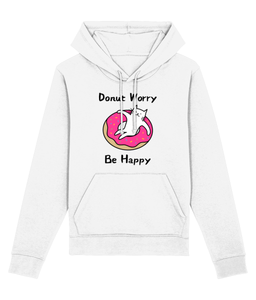 Unisex Organic Cotton Hoodie Donut Worry Be Happy Cat