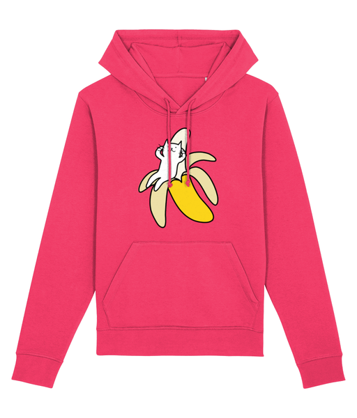 Unisex Organic Cotton Hoodie Banana Cat Relaxing
