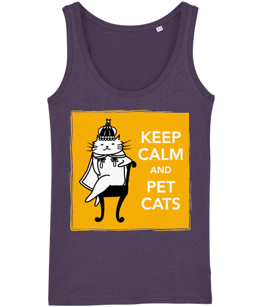Organic Cotton Women's Tank Top Keep Calm and Pet Cats