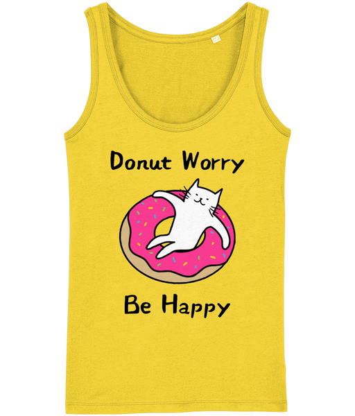 Organic Cotton Women's Tank Top Donut Worry Be Happy Cat