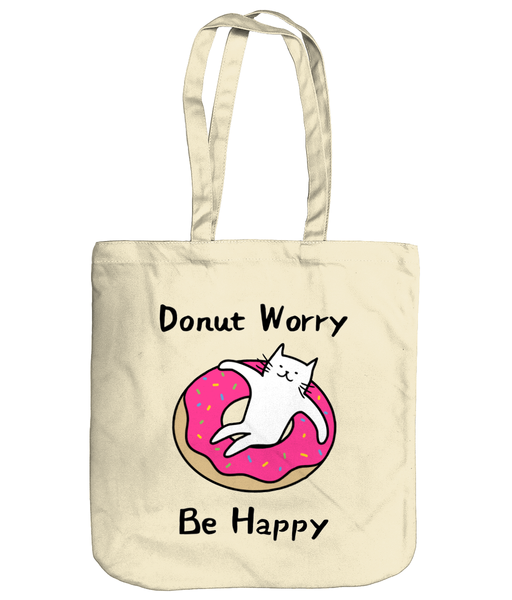 Organic Cotton Tote Bag Donut Worry Be Happy Cat