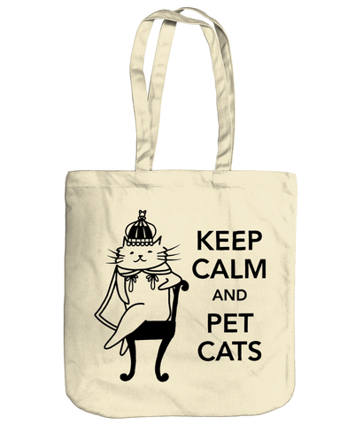 Organic Cotton Tote Bag Keep Calm and Pet Cats