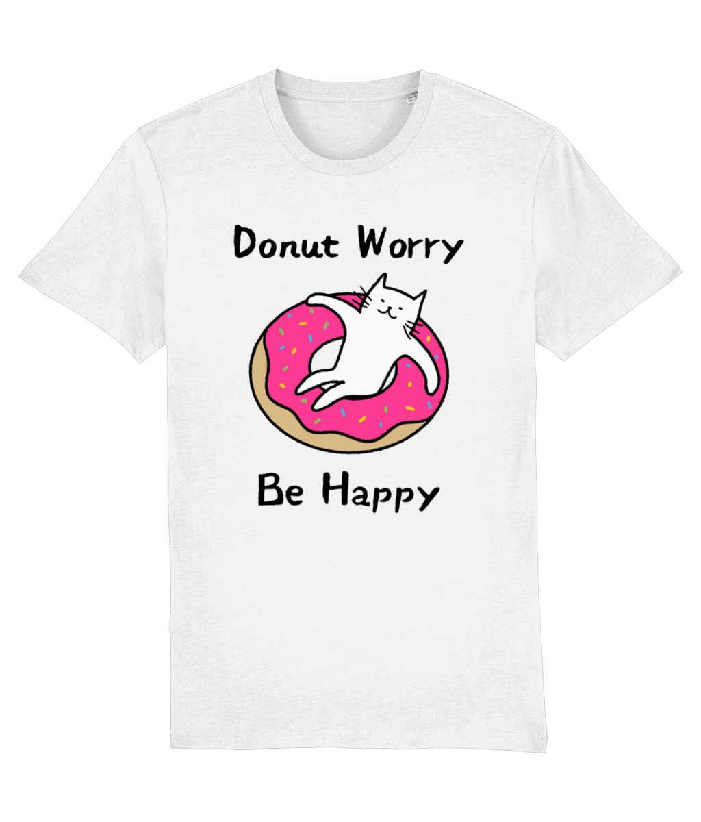 Unisex Organic Cotton T-Shirt Donut Worry Be Happy Cat