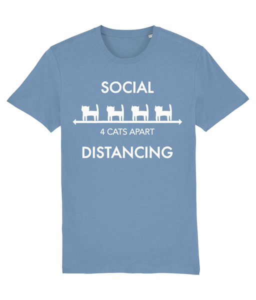 Unisex Organic Cotton T-Shirt Cat Social Distancing