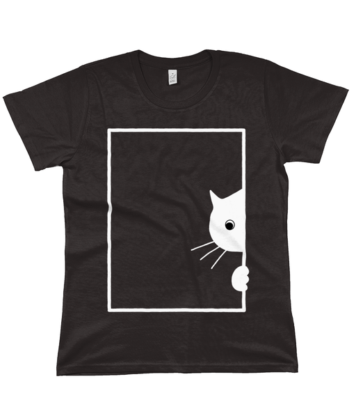 Organic Cotton Women's T-Shirt Peeking Cat