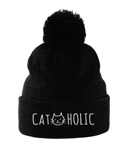Unisex Embroidered Pom Pom Beanie Cat-holic