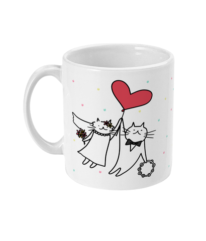 11oz Ceramic Mug Just Married Cats