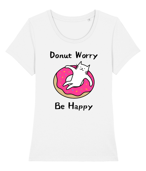 Organic Cotton Women's T-Shirt Donut Worry Be Happy Cat
