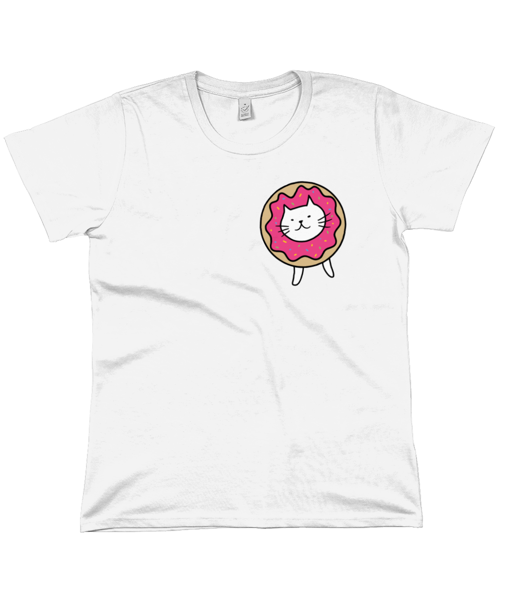 Organic Cotton Women's T-Shirt Cat wearing Doughnut