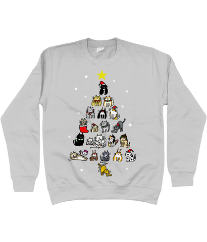 Unisex Christmas Jumper Cute Christmas Cats Tree