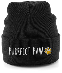 Unisex Embroidered Cuffed Beanie Purrfect Paw