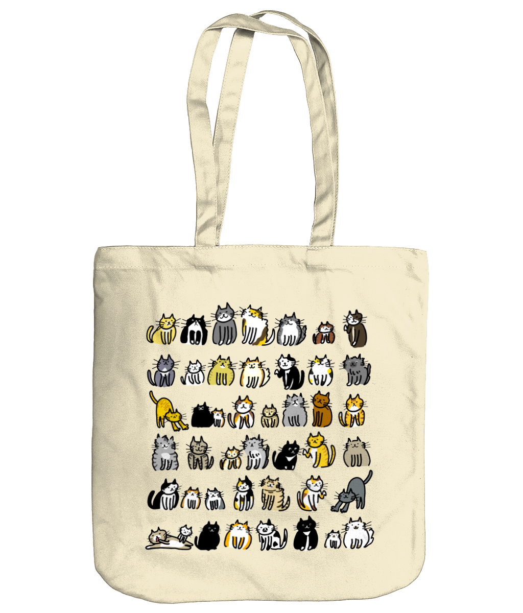 Organic Cotton Tote Bag Cute Cats