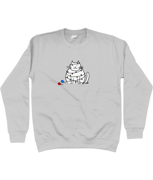 Unisex Christmas Jumper Christmas Lights Clumsy Cat