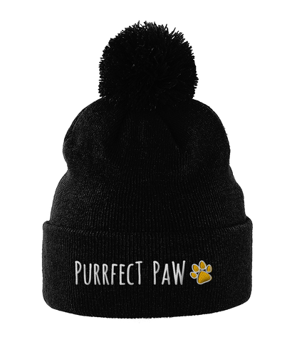 Unisex Embroidered Pom Pom Beanie Purrfect Paw