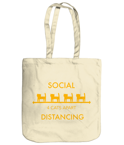 Organic Cotton Tote Bag Social Distancing Four Cats Apart