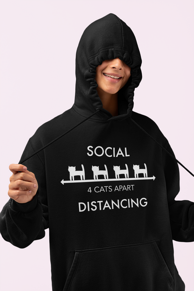 Unisex Organic Cotton Hoodie Cat Social Distancing