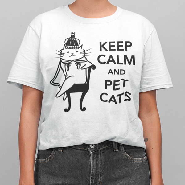 Unisex Organic Cotton T-Shirt Keep Calm and Pet Cats
