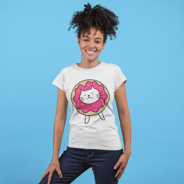 Organic Women's T-Shirt Cat wearing Doughnut